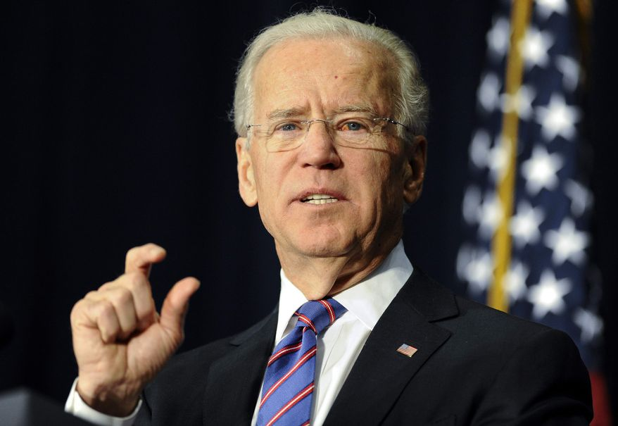 ** FILE ** Vice President Joseph R. Biden gestures as he speaks at a gun-violence conference in Danbury, Conn., Thursday, Feb. 21, 2013. (AP Photo/Jessica Hill)