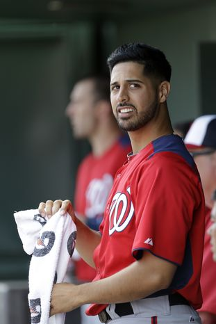 Washington Nationals pitcher Gio Gonzalez looks on from the dugout during the second inning of an exhibition spring training baseball game against the St. Louis Cardinals, Saturday, March 2, 2013, in Jupiter, Fla. (AP Photo/Julio Cortez)
