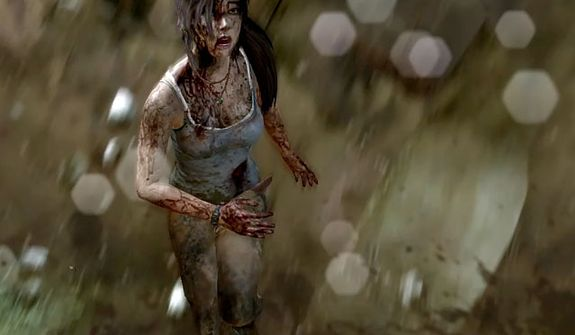 A bloodied Lara Croft avoids danger in the video game Tomb Raider.
