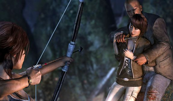 Lara Croft uses a bow to save a friend in the video game Tomb Raider.