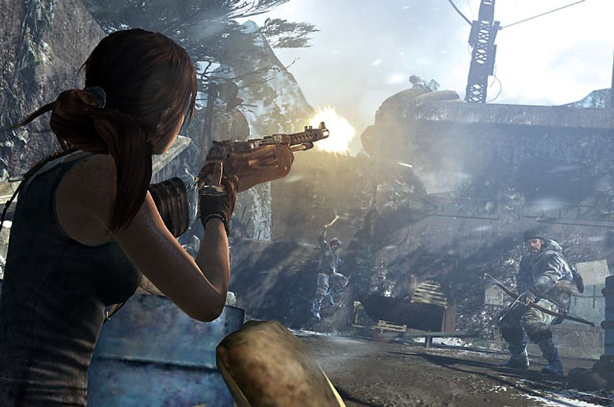 Lara Croft shoots at enemies in the video game Tomb Raider.