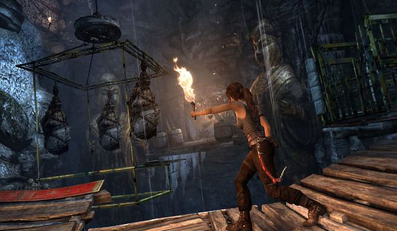 Lara Croft find a tomb in the video game Tomb Raider.