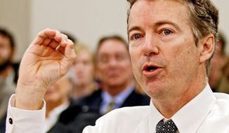 Sen. Rand Paul, Kentucky Republican, is calling for the GOP to adopt a more restrained and less interventionist approach to global affairs, and is embracing the sequester cuts to the defense budget that have military hawks in a tizzy. (Associated Press)