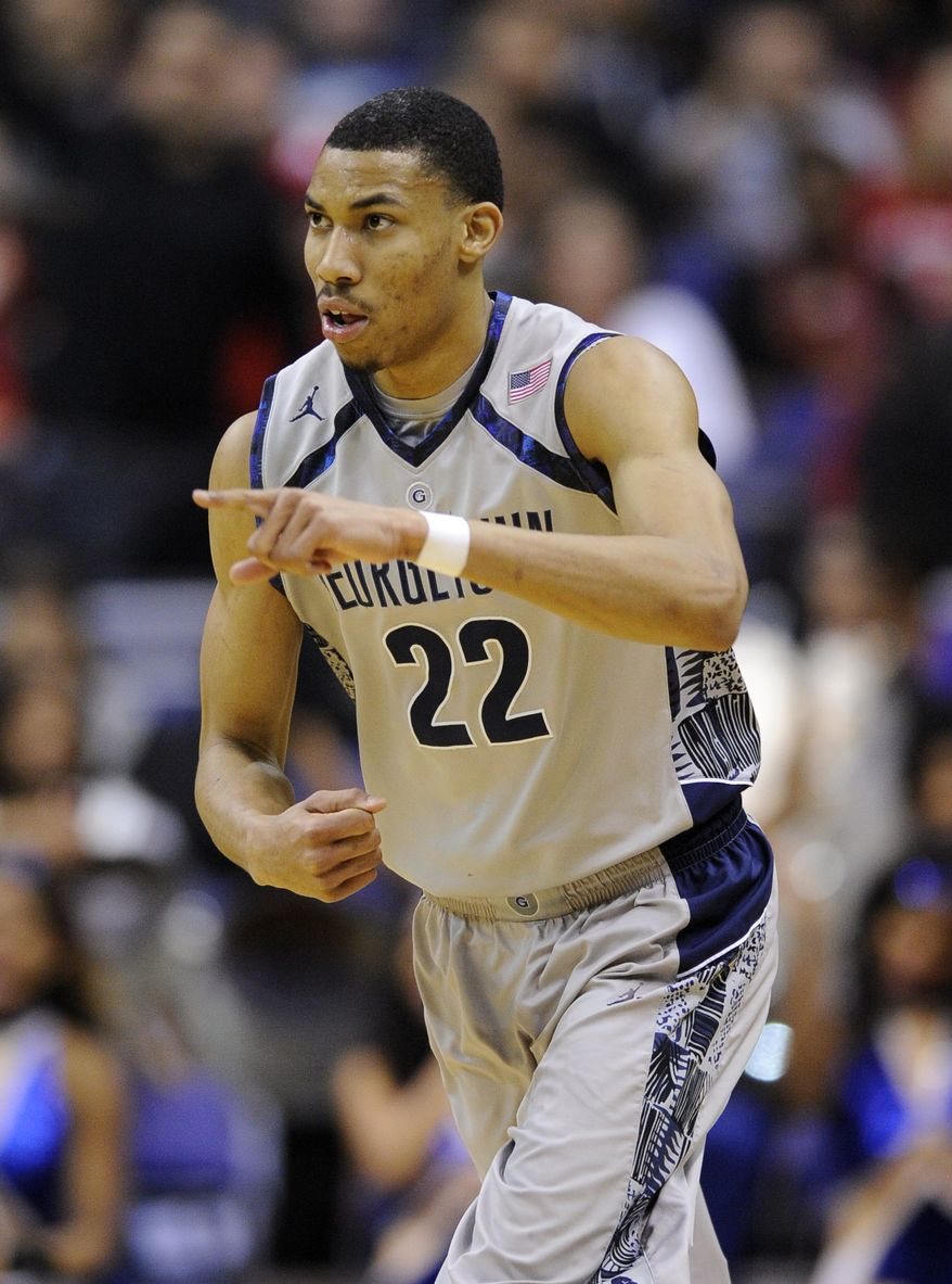 Georgetown forward Otto Porter Jr. (22) gestures during the first half of an NCAA college basketball game against Rutgers, Saturday, March 2, 2013, in Washington. (AP Photo/Nick Wass)
