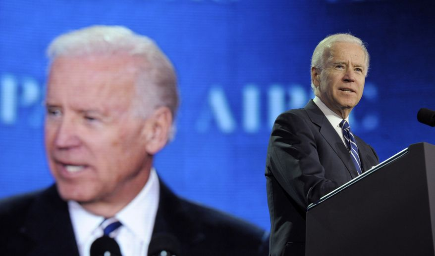 Vice President Joseph R. Biden addresses the American-Israeli Public Affairs Committee (AIPAC) 2013 Policy Conference on at the Walter E. Washington Convention Center in Washington on March 4, 2013. (Associated Press)