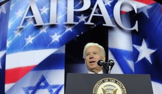 Vice President Joe Biden addresses the American-Israeli Public Affairs Committee (AIPAC) 2013 Policy Conference, Monday, March 4, 2013, at the Walter E. Washington Convention Center in Washington. (AP Photo/Susan Walsh)