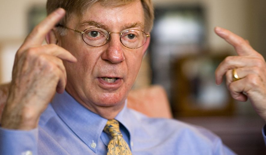 George F. Will, a Pulitzer Prize-winning conservative American newspaper columnist, journalist and author, is interviewed at his office in Washington's Georgetown district on April 22, 2008. (Associated Press)