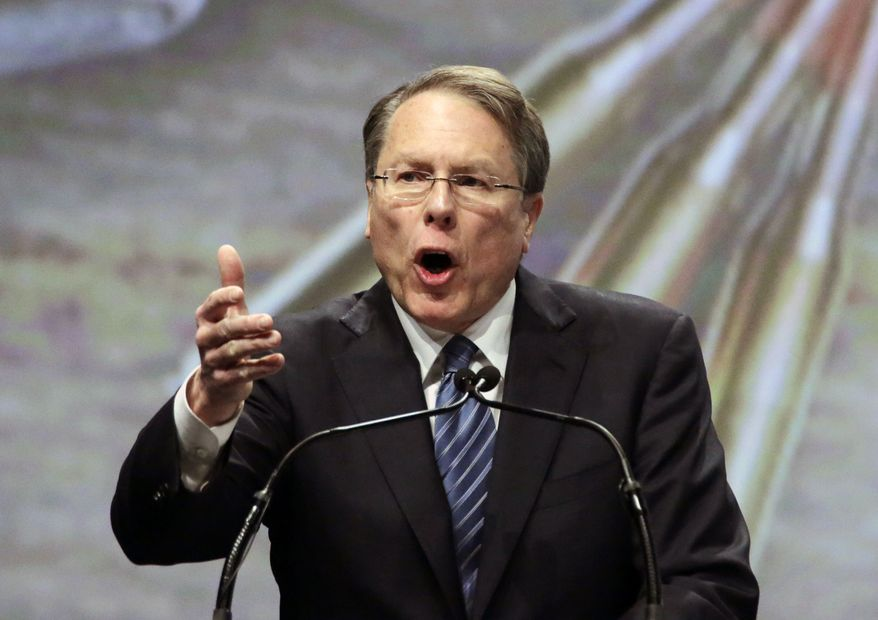 Wayne LaPierre, executive vice president of the National Rifle Association, speaks during the Western Hunting & Conservation Expo Banquet at the Salt Palace Convention Center in Salt Lake City on Feb. 23, 2013. (Associated Press) **FILE**