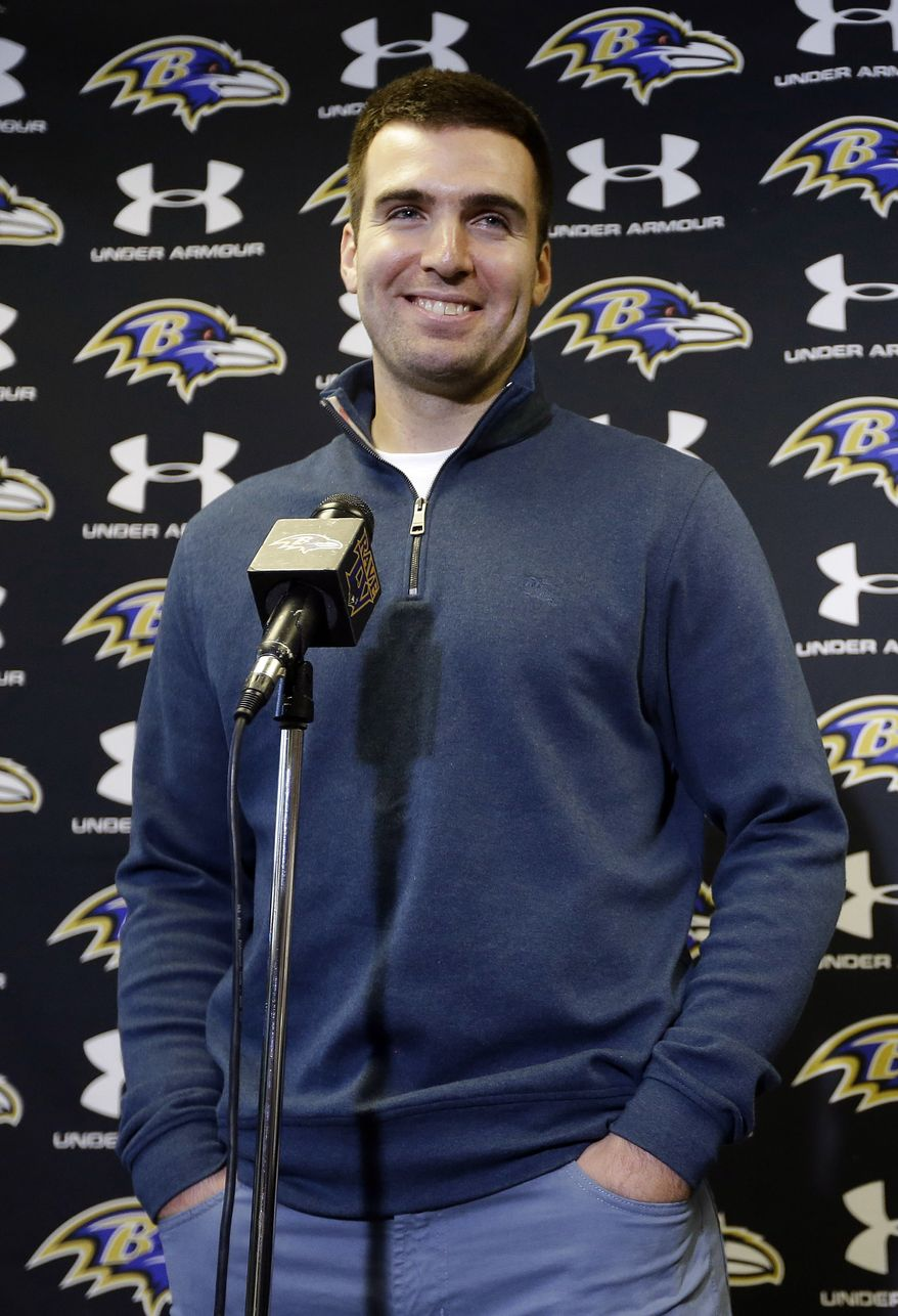 Baltimore Ravens quarterback Joe Flacco speaks at a news conference at the team's practice facility in Owings Mills, Md., Monday, March 4, 2013. Flacco agreed to a contract that will make him the richest quarterback in NFL history after leading the Ravens to a Super Bowl XLVII victory over the San Francisco 49ers. (AP Photo/Patrick Semansky)