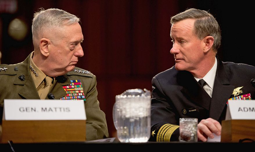 Marine Gen. James Mattis (left), commander of U.S. Central Command, and Navy Adm. William H. McRaven, commander of U.S. Special Operations Command, testify before the Senate Armed Services Committee on Tuesday. (Andrew Harnik/The Washington Times)