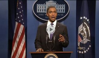 """** FILE ** Actor Jay Pharoah impersonates President Obama on NBC's """"Saturday Night Live"""" on Saturday, March 2, 2013. (Associated Press)"""