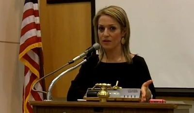 Emily Miller speaking at the meeting of the Virginia Citizens Defense League. Annandale, Va. Thursday, Feb. 28, 2013.