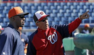 Washington Nationals manager Davey Johnson, right, talks with Houston Astros manager Bo Porter, left, before an exhibition spring training baseball game Tuesday, March 5, 2013, in Viera, Fla. (AP Photo/David J. Phillip)