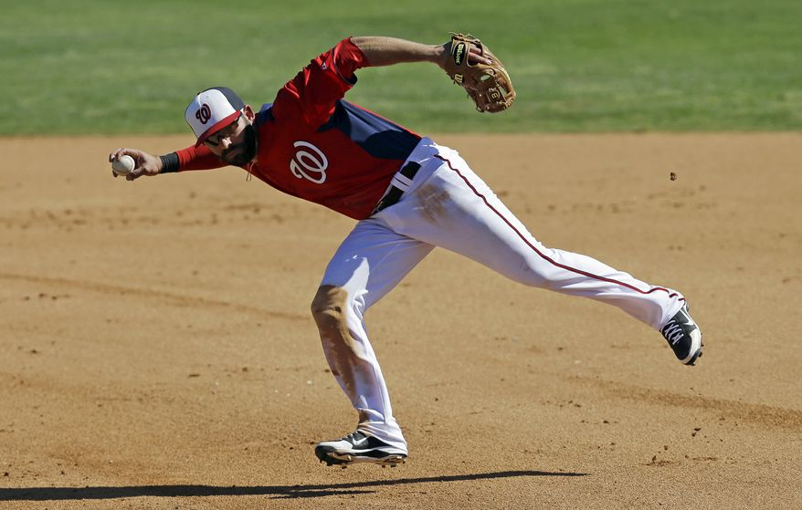 Washington Nationals second baseman Danny Espinosa throws to first after fielding a ground ball by Houston Astros' Brandon Laird during the sixth inning of an exhibition spring training baseball game Tuesday, March 5, 2013, in Viera, Fla. Laird was out at first on the play. (AP Photo/David J. Phillip)