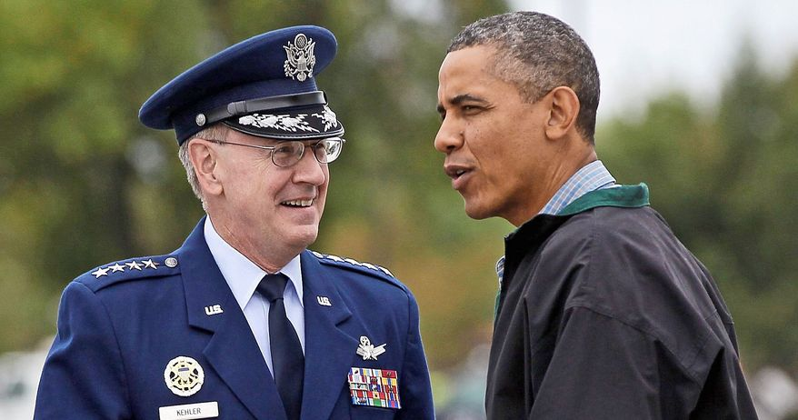 Commander of U.S. Strategic Command Gen. C. Robert Kehler, with President Obama, warns of a cascade of problems with sequestration. (Associated Press)
