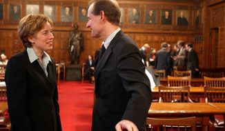 **FILE** Caitlin J. Halligan (left), then a lawyer for New York, and David Boies, a lawyer for Court TV, talk in the Court of Appeals in Albany, N.Y., on April 27, 2005, before Boies represented a cable television channel in their suit against the state to reverse a ban on cameras in the courtroom. (Associated Press)