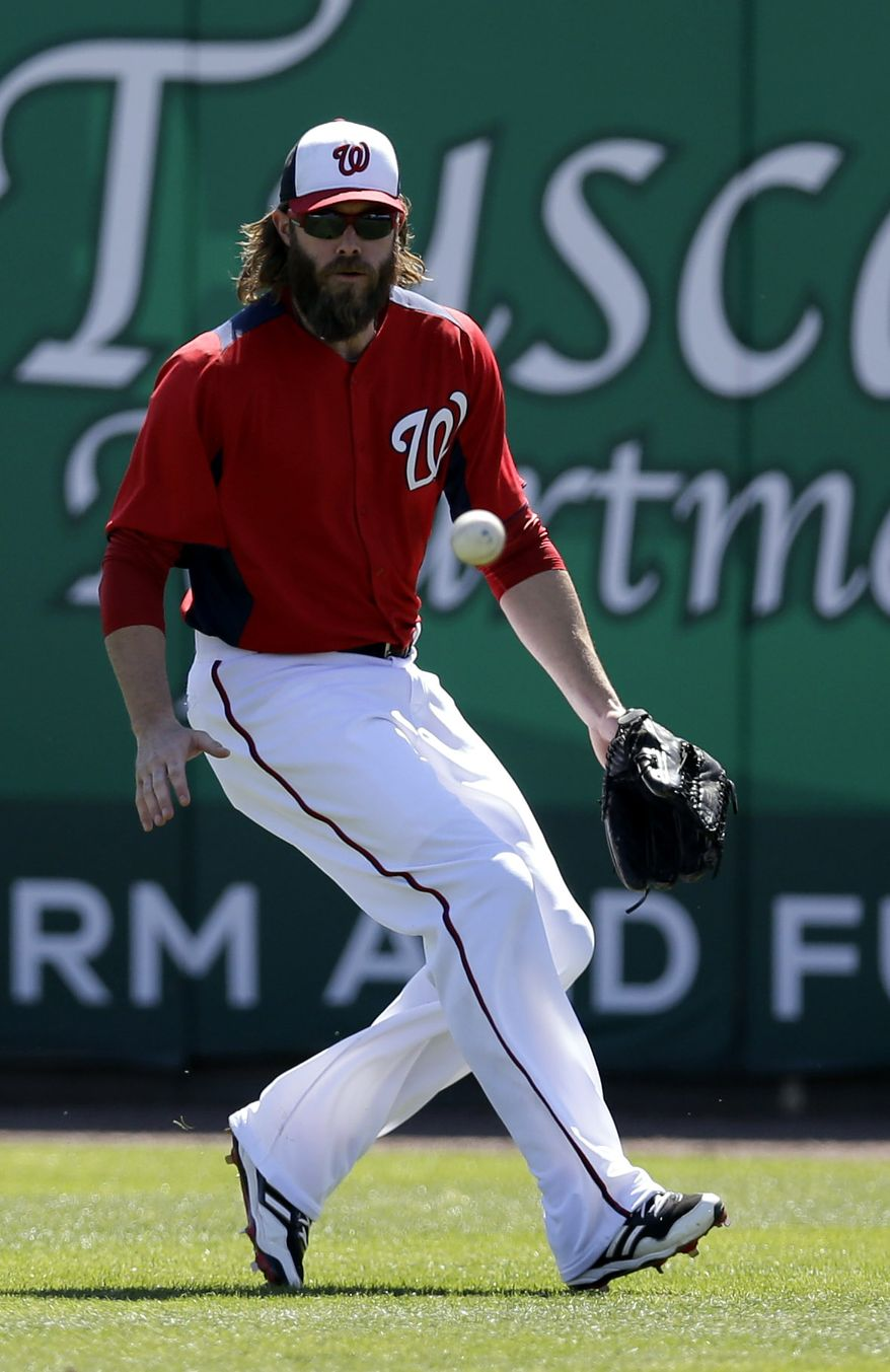 Washington Nationals outfielder Jayson Werth chases down a hit during the third inning of an exhibition spring training baseball game against the Houston Astros Tuesday, March 5, 2013, in Viera, Fla. (AP Photo/David J. Phillip)