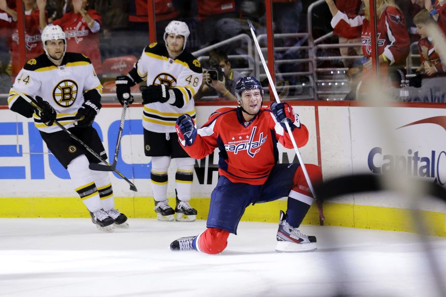 Washington Capitals left wing Wojtek Wolski (17), of Poland, celebrates his goal in the third period of an NHL hockey game against the Boston Bruins, Tuesday, March 5, 2013, in Washington. The Capitals won 4-3 in overtime. (AP Photo/Alex Brandon)