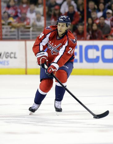 Washington Capitals left wing Aaron Volpatti (24) skates with the puck in the first period of an NHL hockey game against the Boston Bruins Tuesday, March 5, 2013 in Washington. (AP Photo/Alex Brandon)