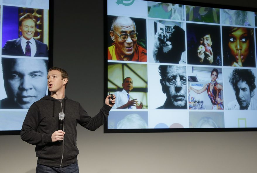 Facebook CEO Mark Zuckerberg speaks at company headquarters in Menlo Park, Calif., on Thursday, March 7, 2013. Mr. Zuckerberg unveiled a new look for the social network's News Feed, the place where its 1 billion users congregate to see what's happening with their friends, family and favorite businesses. (AP Photo/Jeff Chiu)