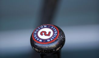 A Washington National's bat is shown before a spring training exhibition baseball game against the Philadelphia Phillies, Wednesday, March 6, 2013, in Clearwater, Fla. (AP Photo/Matt Slocum)