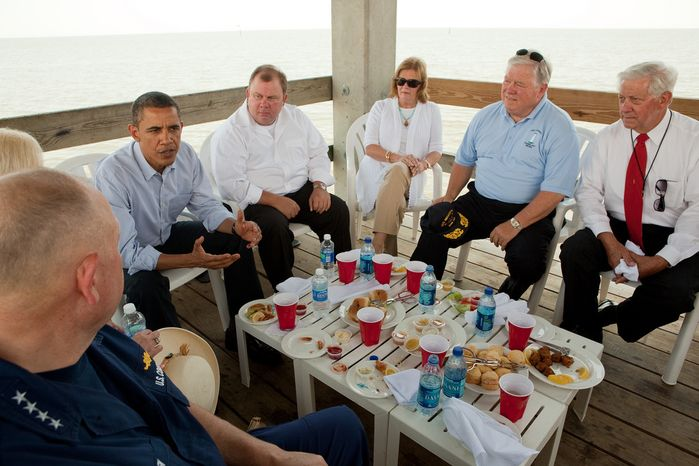 President Barack Obama participates in a roundtable discussion and lunch with local residents at Combs Pier in Gulfport, Miss., June 14, 2010. Participants pictured, from left, are National Incident Commander Admiral Thad Allen, hotel co-owner Missy Bennett, restaurant owner Scott Weinberg, Marsha Barbour, Mississippi Gov. Haley Barbour, and Gulfport Mayor George Schloegel. This was the President's fourth trip to the Gulf Coast to assess the ongoing response to the BP oil spill in the Gulf of Mexico. (Official White House Photo by Pete Souza)This official White House photograph is being made available only for publication by news organizations and/or for personal use printing by the subject(s) of the photograph. The photograph may not be manipulated in any way and may not be used in commercial or political materials, advertisements, emails, products, promotions that in any way suggests approval or endorsement of the President, the First Family, or the White House.