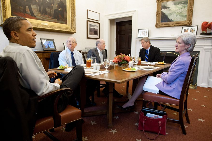 President Barack Obama has lunch with Cabinet secretaries in the Oval Office Private Dining Room, March 10, 2011. Attending the lunch, from left, are: Secretary of the Interior Ken Salazar; Chief of Staff Bill Daley; Agriculture Secretary Tom Vilsack; and Health and Human Services Secretary Kathleen Sebelius. (Official White House Photo by Pete Souza)This official White House photograph is being made available only for publication by news organizations and/or for personal use printing by the subject(s) of the photograph. The photograph may not be manipulated in any way and may not be used in commercial or political materials, advertisements, emails, products, promotions that in any way suggests approval or endorsement of the President, the First Family, or the White House.