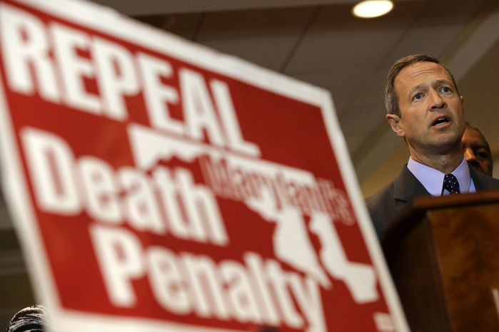 **FILE** Maryland Gov. Martin O'Malley speaks at a rally in support of repealing the state's death penalty in Annapolis on Jan. 15, 2013. O'Malley, who said he will be making repeal a priority, argued that the death penalty is a waste of resources that could be better used to fight crime in more productive ways. (Associated Press)