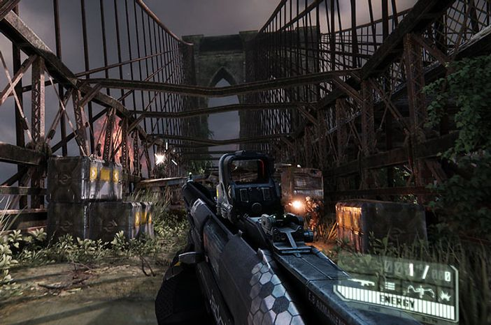 Fight on a nearly destroyed Brooklyn Bridge in the video game Crysis 3.