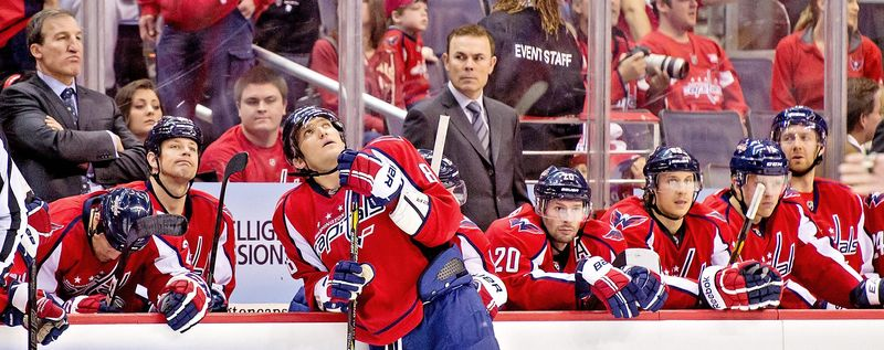 Matters unraveled for the Capitals during a 4-1 home loss to the Rangers on Sunday after captain Alex Ovechkin (center) was called for two penalties on the same second-period play. (Andrew Harnik/The Washington Times)