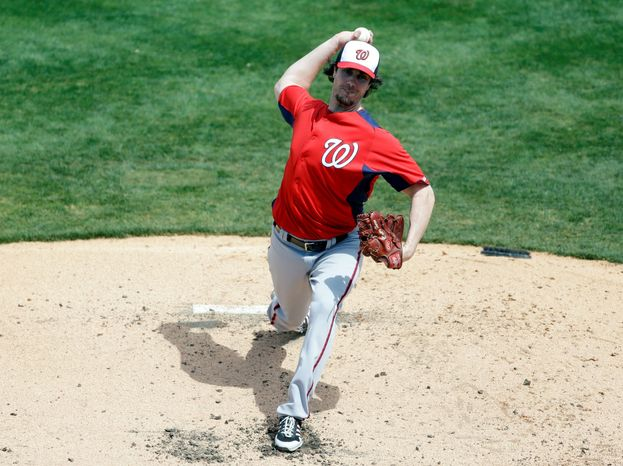 As he prepares for his first season as a National, veteran starter Dan Haren is working on pitching inside as a way to open up the outer part of the plate. (Associated Press)