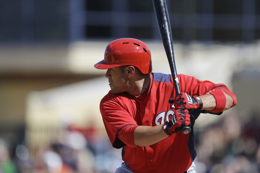 Washington Nationals' Sandy Leon bats during the ninth inning of an exhibition spring training baseball game against the Detroit Tigers, Sunday, March 10, 2013 in Lakeland, Fla. (AP Photo/Carlos Osorio)