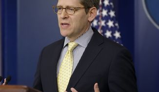 White House spokesman Jay Carney speaks during his daily news briefing at the White House in Washington on March, 11, 2013. (Associated Press)