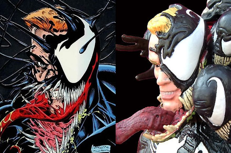 Artist Mark Bagley's version of Venom compared to Diamond Select Toys' Venom  (Photograph by Joseph Szadkowski / The Washington Times)