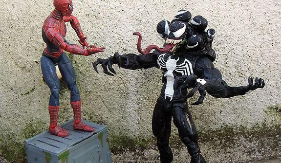 Spider-Man says hello to his old pal Diamond Select Toys' Venom. (Photograph by Joseph Szadkowski / The Washington Times)