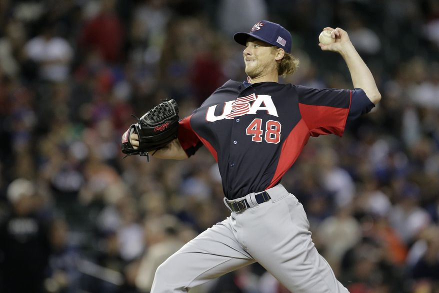 United States pitcher Ross Detwiler throws during a World Baseball Classic game against Italy Saturday, March 9, 2013, in Phoenix. (AP Photo/Charlie Riedel)