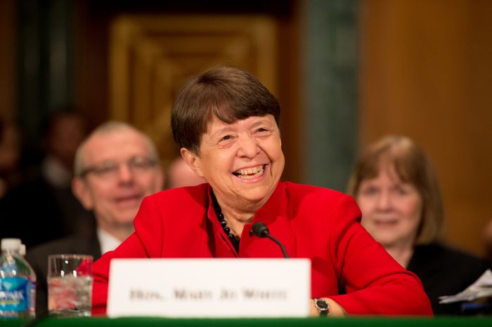 Mary Jo White, President Obama's pick to head the Securities and Exchange Commission, testifies on March 12, 2013, at her confirmation hearing in front of the U.S. Senate Banking, Housing and Urban Affairs Committee on Capitol Hill. (Andrew Harnik/The Washington Times)