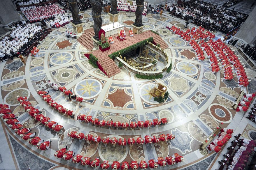 In this photo provided by the Vatican newspaper L'Osservatore Romano, cardinals, in red, attend a Mass for the election of a new pope celebrated by Cardinal Angelo Sodano, figure at the center of the stage beneath the Bernini baldachin, inside St. Peter's Basilica, at the Vatican, Tuesday, March 12, 2013. (AP Photo/L'Osservatore Romano, ho)