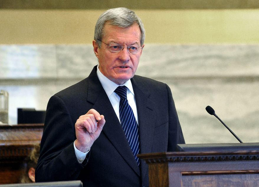 **FILE** Sen. Max Baucus, Montana Democrat, addresses the state Legislature in Helena on Jan. 10, 2013. (Associated Press/The Independent Record)