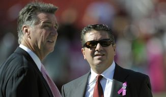 **FILE** Washington Redskins General Manager Bruce Allen, left, and Owner Daniel Snyder watch the Redskins warm-up prior to their NFL football game with the Minnesota Vikings Sunday, Oct. 14, 2012, in Landover, Md. The Redskins defeated the Vikings 38-26. (AP Photo/Cliff Owen)