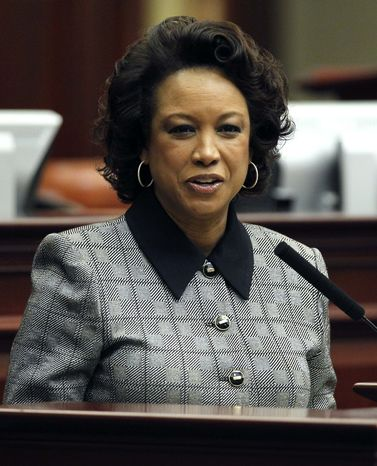 ** FILE ** In this Jan. 11, 2012, file photo, Florida Lt. Gov. Jennifer Carroll speaks during Florida Space Center day in Tallahassee, Fla. Carroll abruptly resigned Wednesday, March 13, 2012, after authorities questioned her ties into Internet cafes that authorities say are fronts for gambling. (AP Photo/Chris O'Meara, File)