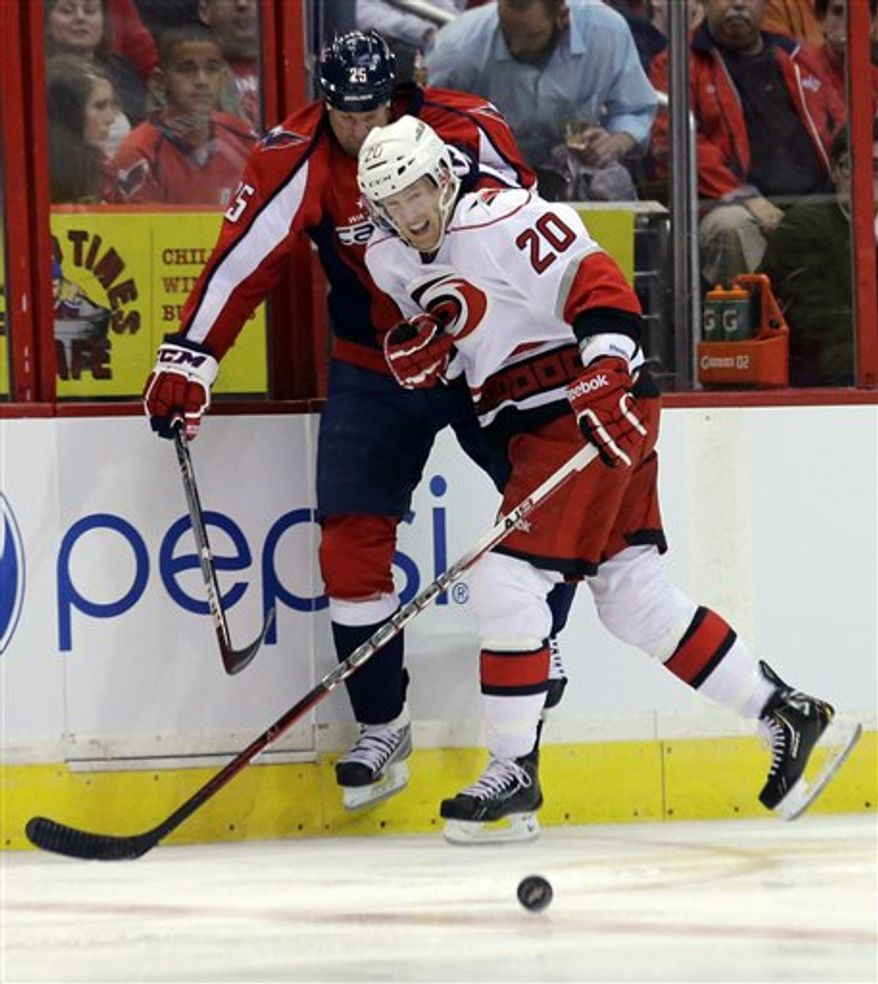 Hurricanes center Riley Nash scored two goals in Tuesday night's 4-0 victory over Jason Chimera and the Capitals. (Associated Press)