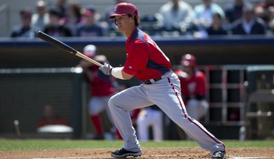 Washington Nationals Zach Walters bats during the first inning of an exhibition spring training baseball game against the Houston Astros on Wednesday, March 13, 2013, in Kissimmee, Fla. (AP Photo/Evan Vucci)