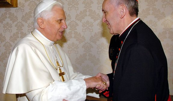 FILE - This Jan. 13, 2007 file photo provided by the Vatican newspaper L'Osservatore Romano, then Pope Benedict XVI, left, shakes hands with the archbishop of Buenos Aires Cardinal Jorge Mario Bergoglio during their meeting at the Vatican, Saturday, Jan. 13, 2007. Bergoglio, who took the name of Pope Francis,  was elected on Wednesday, March 13, 2013 the 266th pontiff of the Roman Catholic Church. (AP Photo/L'Osservatore Romano, ho, files)