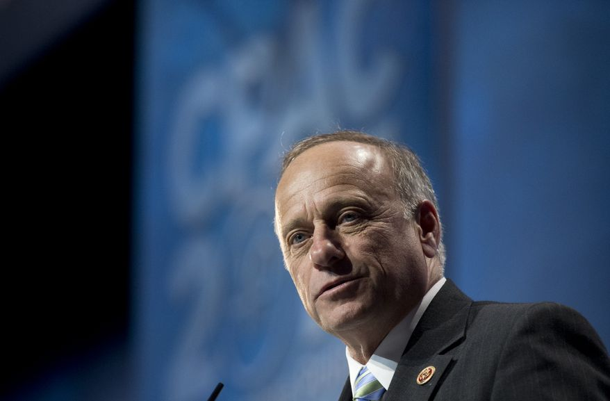 Rep. Steve King, Iowa Republican, speaks at the 40th annual Conservative Political Action Conference in National Harbor, Md., on Thursday, March 14, 2013. (Associated Press)