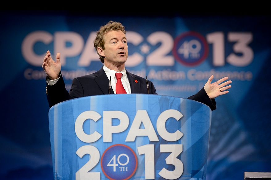** FILE ** Sen. Rand Paul (R-K.Y.) speaks at this year's Conservative Political Action Conference (C.P.A.C.) held at the Gaylord National Hotel, National Harbor, Md., Thursday, March 14, 2013. (Andrew Harnik/The Washington Times)