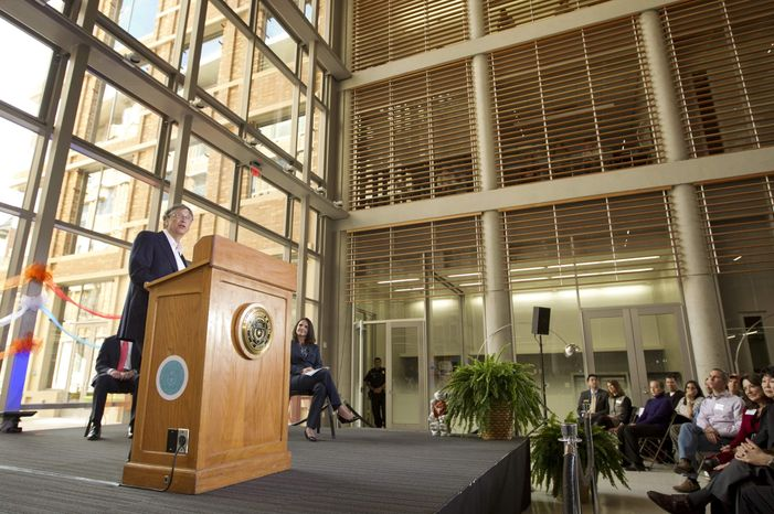 ** FILE ** Microsoft founder Bill Gates speaks at the ribbon-cutting ceremony for the new Bill and Melinda Gates Computer Science Complex on the UT campus in Austin, Texas, on Wednesday, March 6, 2013. (AP Photo/Statesman.com, Jay Janner)
