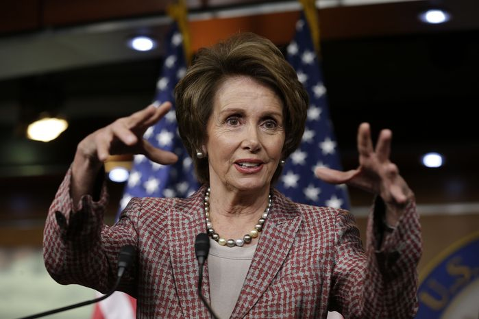 ** FILE ** House Minority Leader Nancy Pelosi, D-Calif., speaks to reporters during a news conference on Capitol Hill in Washington, Thursday, March 7, 2013. (AP Photo/J. Scott Applewhite)