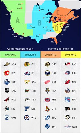A graphic showing the NHL realignment set to go into effect for the 2013-14 season. (Courtesy NHL)