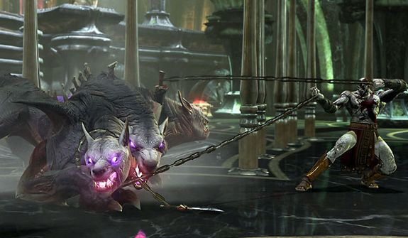 Kratos keeps a Ceberus at bay in the video game God of War: Ascension.